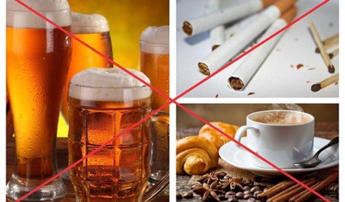 không nên sử dụng bia rượu, thuốc lá, cafe
